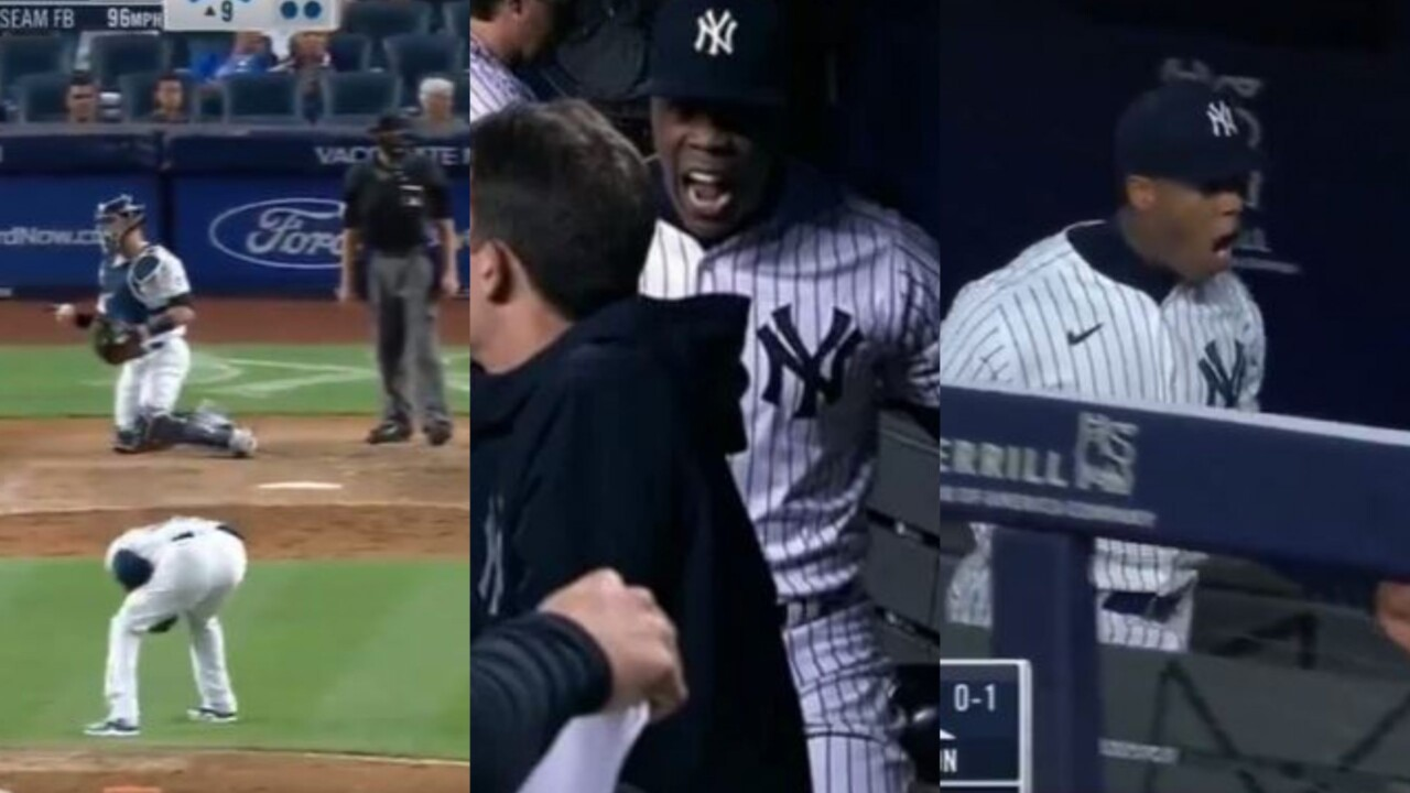 Aroldis Chapman erupted in fury with Aaron Boone in the dugout