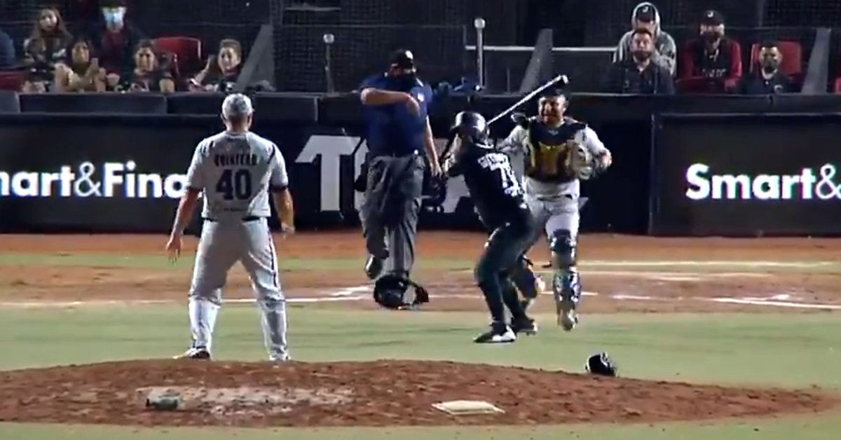 Massive fight in a baseball game: more than 20 players beat each other and one tried to attack another with a bat