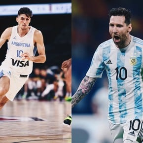 The particular comparison of an NBA team: Messi and Bolmaro!