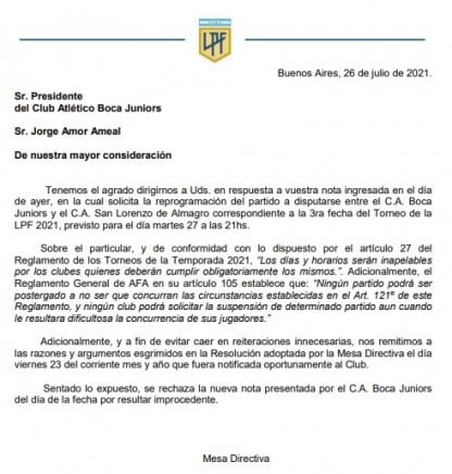 Press Release 1 Boca San Lorenzo LPF