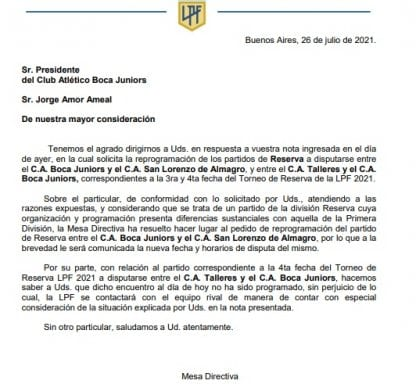 Press Release 2 Boca San Lorenzo LPF