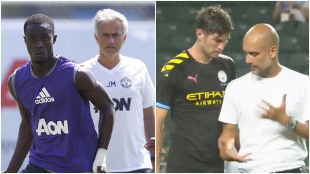 Bailly with Mourinho and Stones with Guardiola.
