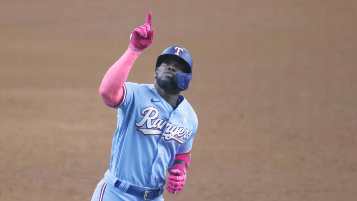 Cuban Adolis Garcia has 63 RBIs and 22 home runs for the Texas Rangers in the 2021 MLB campaign.