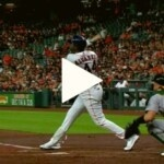 CELEBRATING PATERNITY: Yordan hit the 15th homer and equaled Cuban Legend