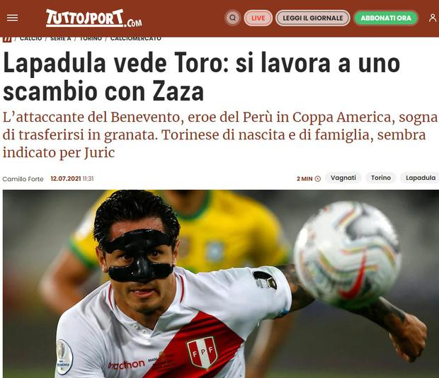 Tuttosport points out that Lapadula will play in Torino. (Capture)
