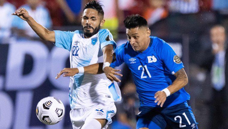 Jose Morales and Bryan Tamacas from El Salvador dispute control of the ball. (Free Press Photo: AFP)