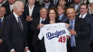 Joe Biden welcomes the Los Angeles Dodgers to the White House