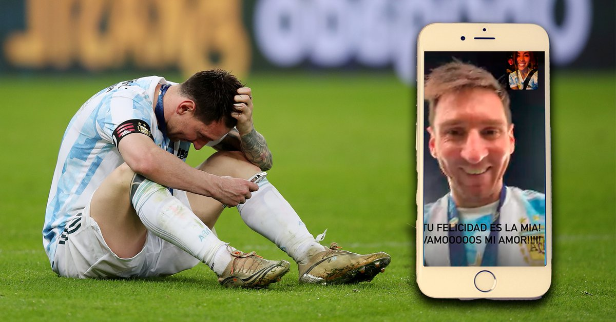 Messi intimate the video call with his family from the
