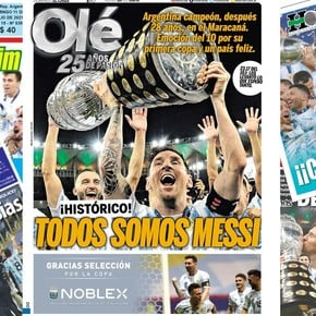 The covers of the newspapers with Argentina champion