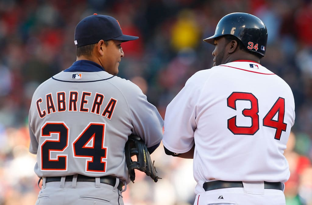 Miguel Cabrera caught up with the great David Ortiz in the Major Leagues