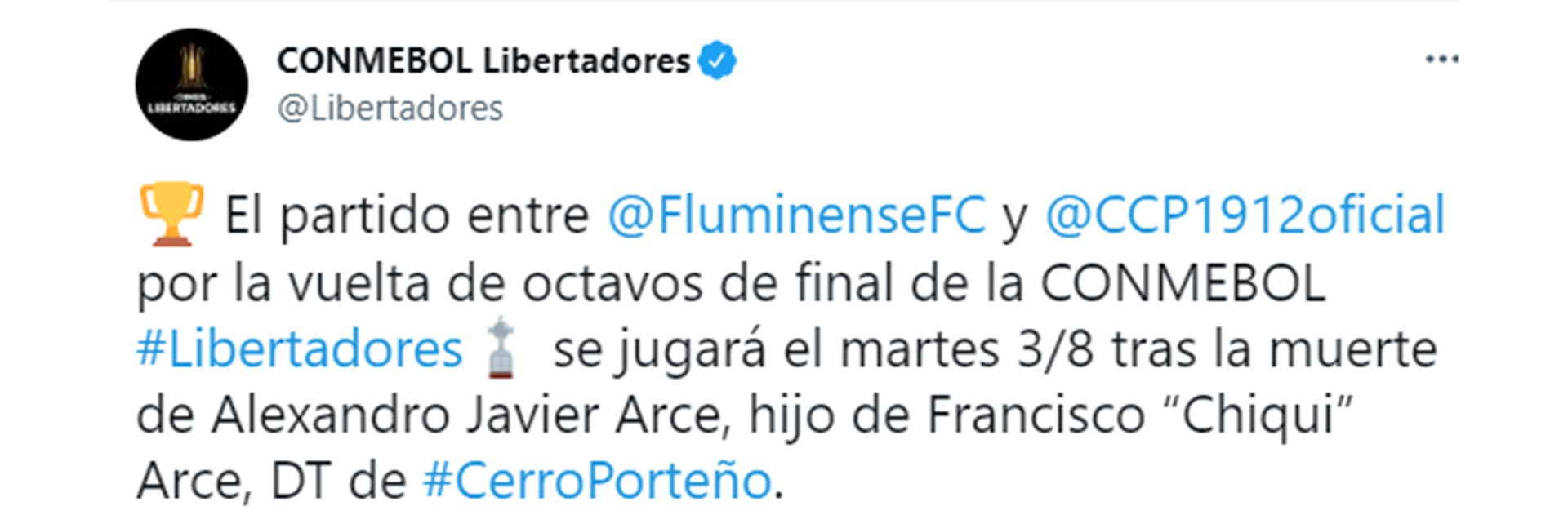 Conmebol decided to postpone the duel between Cerro Porteño and Fluminense for the return of the round of 16 of the Copa Libertadores