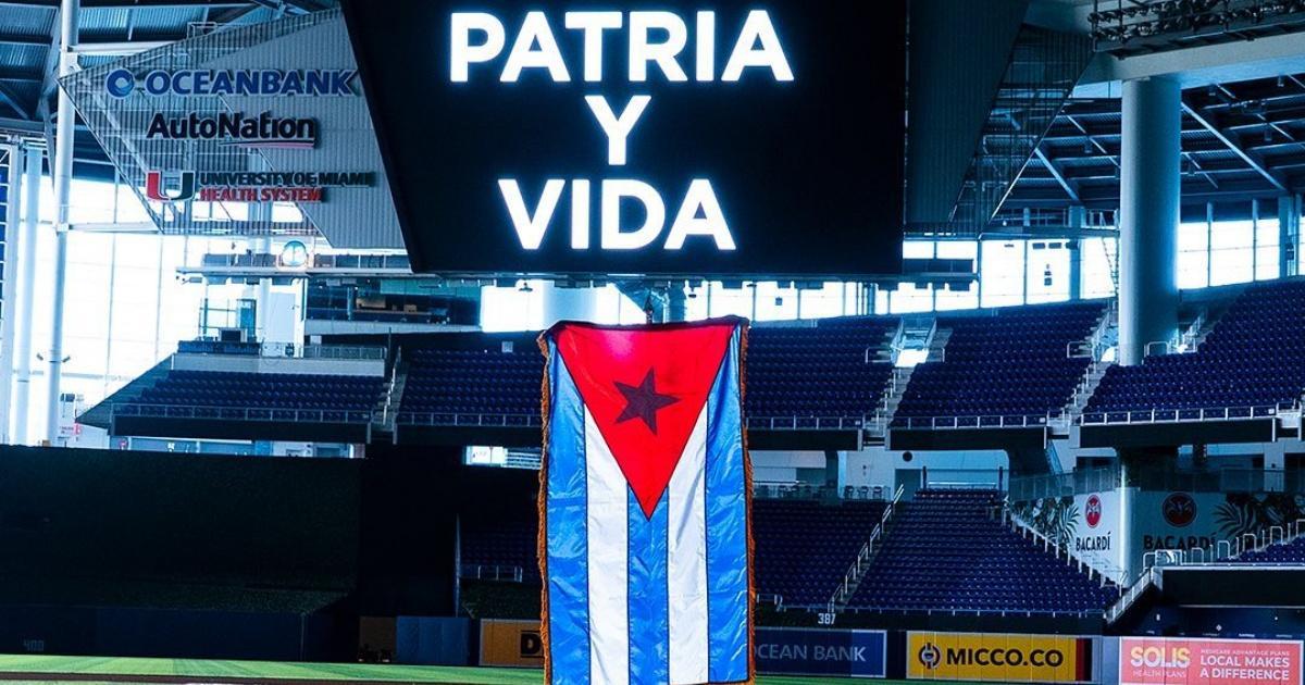 The Miami Marlins join the SOSCuba with a Cuban flag