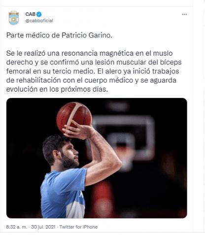 Tweet Injury of Patricio Garino