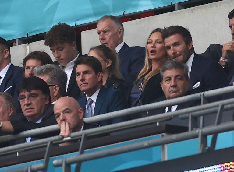 Tom Cruise, model Kate Moss and former footballer David Beckham during the Euro final at Wembley Stadium, London