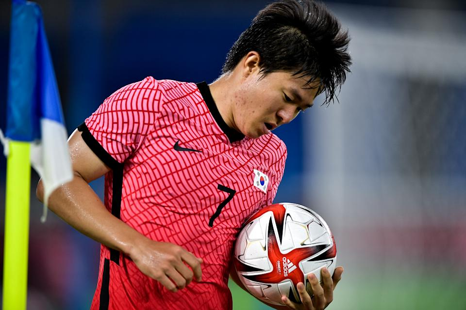 YOKOHAMA, JAPAN - JULY 31: Chang-hoon Kwon of South Korea during the Men & # 39; s Football Tournament Quarter Final match between South Korea and Mexico on day 8 of the Tokyo 2020 Olympic Games at International Stadium Yokohama on July 31, 2021 in Yokohama, Japan. (Photo by Pablo Morano / BSR Agency / Getty Images)