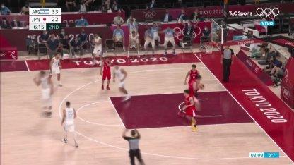 Argentina vs. Japan in basketball: Scola's triple