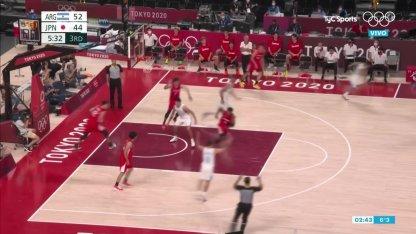 Argentina vs. Japan in basketball: Campazzo's triple