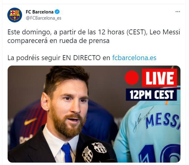 Barcelona announced Leo Messi conference. (Photo: Twitter)