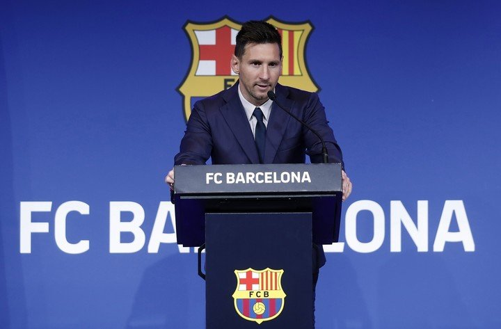 Messi, at the press conference where he said goodbye to Barcelona. Photography: EFE / Andreu Dalmau