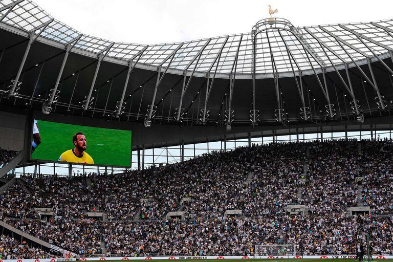 Harry Kane's image on the giant screen at Tottenahm Stadium in London before the City match