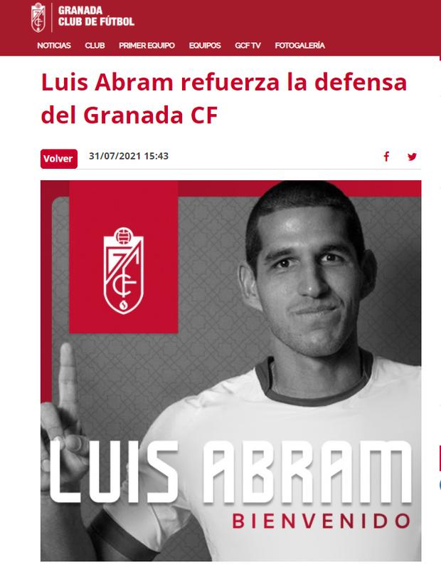 Granada welcomed Luis Abram. (Capture)