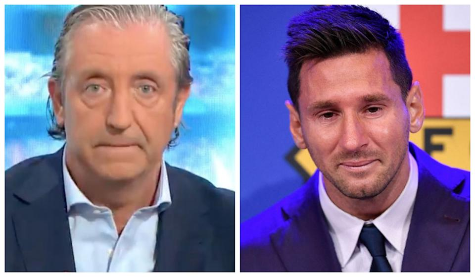 Josep Pedrerol reacts immediately to the & # 39; stick & # 39; of Lionel Messi in his farewell. (Sources: Twitter / @ elchiringuitotv and Pau Barrena / AFP v & # xed; a Getty Images)
