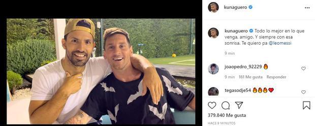 The 'Kun' Agüero says goodbye to Lionel Messi. (Photo: Instagram)