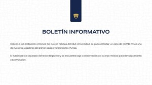 Pumas presented a positive case for Covid-19 prior to the duel against San Luis