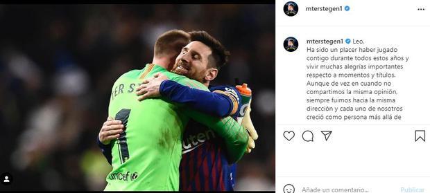 Ter Stegen's farewell to Messi on Instagram.