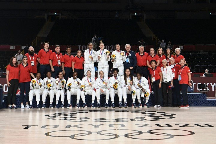 The award for women's basketball. Photo: AFP