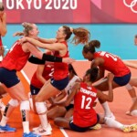 The United States takes the gold medal of women's volleyball at the Olympic Games