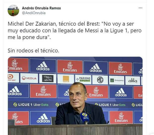 The word of Michel Der Zakarian, coach of Brest, about the possible arrival of Messi. (Photo: Twitter)
